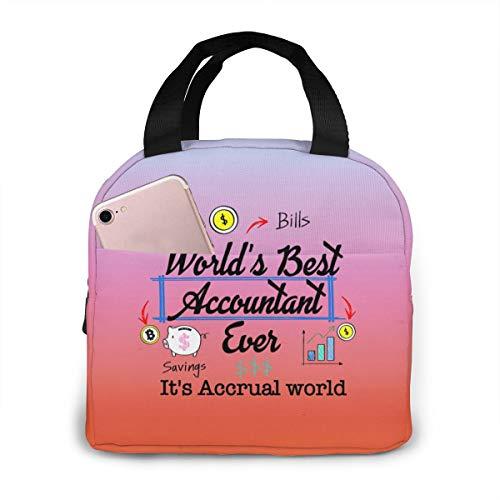 Braternal Orde van de Politie Unisex Draagbare Herbruikbare Waterdichte Thermische Isolatie Lunch Bag Picknic Bag Winkeltas Koelbox Eén maat World's Best Accountant