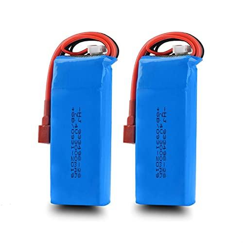 1/2 / 3pcs 7.4v 3000mAh lipo batería 2s para wltoys 144001 124018 124019 rc car (Color : Blue 2battery)