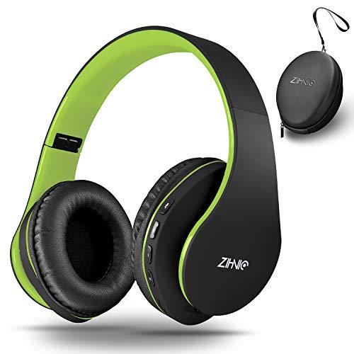 zihnic Auriculares Bluetooth Inalambricos, Cableados con Micrófono Plegables Estéreo Cascos Inalambricos Bajos Profundos para TV/PC/Teléfonos Celulares, Diadema con Orejeras Confortables