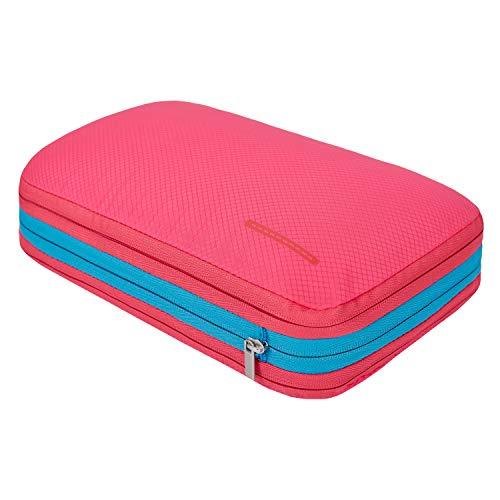 超便利旅行圧縮バッグ ファスナー圧縮で衣類スペース50%節約 軽量 出張 旅行 可変スペース 便利グッズ (ローズレッド)