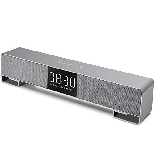 Control táctil Bluetooth reloj despertador altavoz de radio digital AM/PM pantalla AUX/TF/USB/relojes de radio FM/Bluetooth reproducción de FM, altavoz de audio Weckeren,Gris