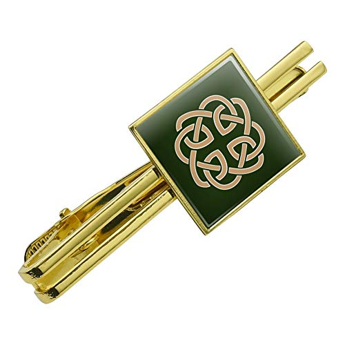 Graphics and More Celtic Knot Love Eternity Square Tie Bar Clip Clasp Tack Gold Color
