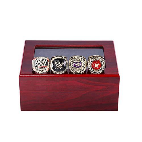 SHUFEI RingeMeisterschaft Ringe, 4Pcs WWE Hall of Fame Wrestling Turnier-Lobby zu Zeigen Die Fans A Gift Box-Kollektion, Größe 10-12,12