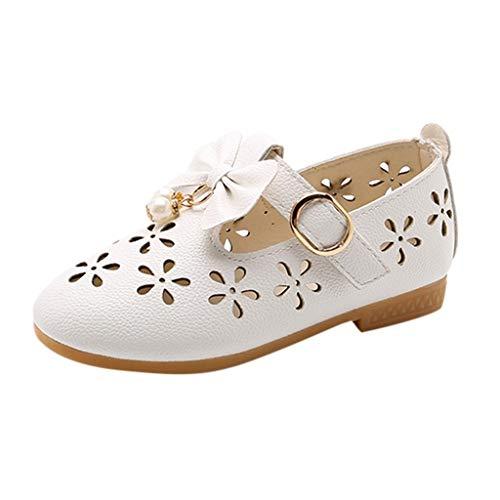 Babyschuhe Ballerinas/Dorical Mädchen Sommer rutschfeste Schuhe/Kinderschuhe mit Butterfly-Knot Perle Hohl Outdoor Casual Schuhe Party Prinzessin Schuhe Festliche Schuhe 21-36 EU(Weiß,26 EU)