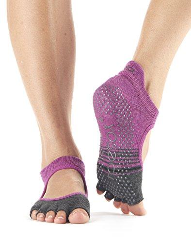 Toesox Bellarina Calcetines de yoga sin dedos, unisex para adulto Multicolor Mulberry Stripe Small