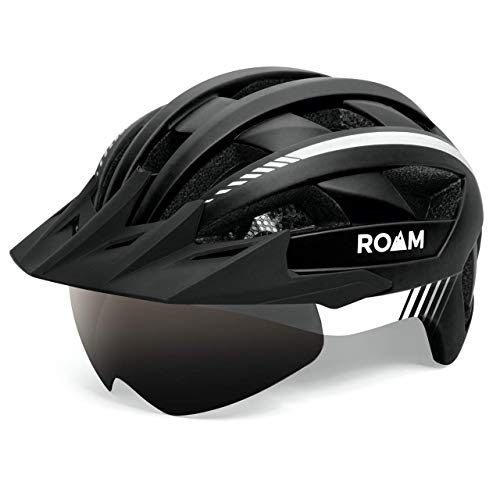 Roam Road Bike Helmet with Sun Visor and LED Light - Durable Mountain Bike Accessories for Adult Women and Men - 1 Size Fits All  - Detachable Magnetic Goggles - Multi Flash Bike Light
