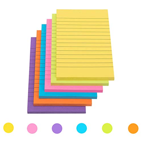 CYH Sticky Notes, 6 Pack 300 vel Sticky Note Pad, 6 Kleuren Gevoerde Self Stick Memo Pads Grote Stick Notes Note Pads…