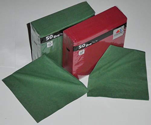 100 tovaglioli in cellulosa combinazione: 50 pezzi verde perla + 50 pezzi bordeaux – tovaglioli di carta 33 x 33 cm 13 x 13 pollici 1/4 piegatura a 3 strati
