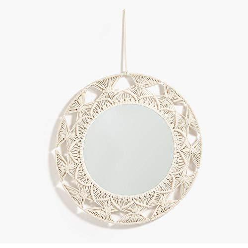 WYZQQ Ronde aan de muur bevestigde decoratieve spiegel - handgemaakte touw omsponnen badkamerspiegel, ideaal voor eet- wasruimte, badkamer en woonkamer