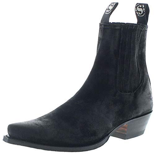 Sendra Boots Herren Cowboy Stiefel 1692 Serraje Negro Westernstiefelette Schwarz 48 EU