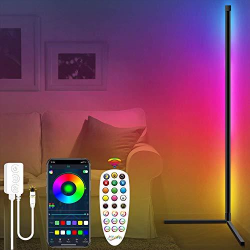 Fortand Lámpara de pie LED, Bluetooth APP Ambiente de ilusión ajustable de luz de ángulo recto luz de control remoto RGB pared esquina adecuada para el dormitorio de la Sala de estar