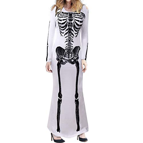 Lowest Prices! TozuoyouZ Womens Skeleton Halloween Costume Cold Shouder Maxi Dress with Front 3D Pri...
