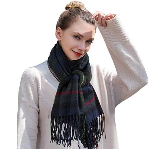 Tacobear sjaal dames kasjmier geruit sjaal wintersjaal gebreide sjaal tartan sjaal oversized zachte warme omslagdoek poncho sjaal met kwasten voor vrouwen