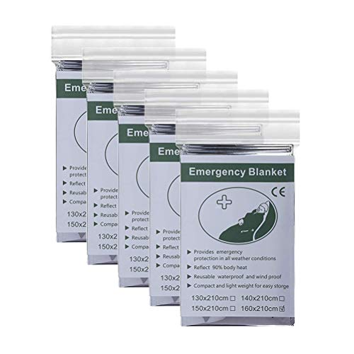 Urisgo - Manta de emergencia 3 en 1, manta térmica de emergencia, manta de rescate, multifunción, manta térmica, para camping, senderismo, plata, 130*210CM