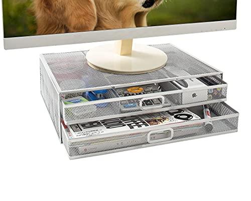 Soporte Vertical para Monitor - Organizador de Escritorio de Malla Metálica con dos Cajones de Almacenamiento Extraíbles para Escritorio, Computadora Portátil, Impresora y Suministros de Oficina