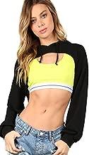 SweatyRocks Women's Solid Black Long Sleeve Pullover Crop Top Hoodie Black XXL