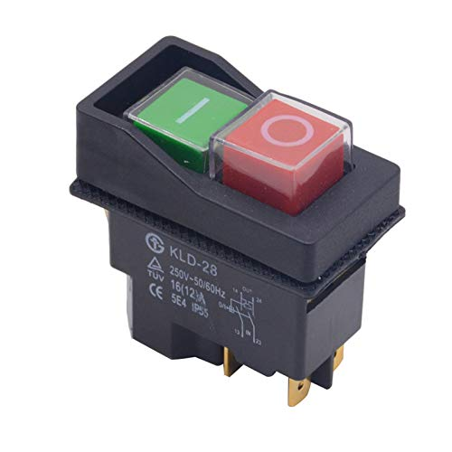 Mmbo Interruptor electromagnético de botón IP55 Impermeable 4 Pin AC250V 16A Magnético Starter Power Tool Interruptores de Seguridad Ajuste para la máquina Herramienta