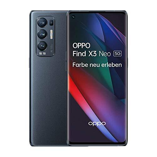 OPPO Find X3 Neo 5G Smartphone, 6,5 Zoll 90 Hz AMOLED Display, 50 MP KI Vierfachkamera, 4.500 mAh mit 65W SuperVOOC 2.0 Schnellladen, 256 GB interner Speicher, 12 GB RAM, Dual-SIM, Starlight Black
