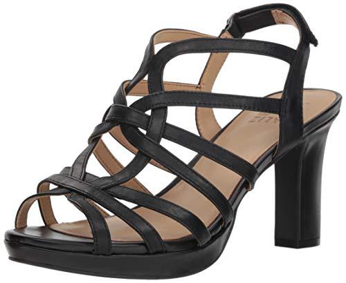 Naturalizer Women's Flora Heeled Sandal, Black Leather, 7.5 M US