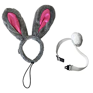 Midlee Easter Bunny Gray & Pink Rabbit Ears for Large Dogs Headband with Tail