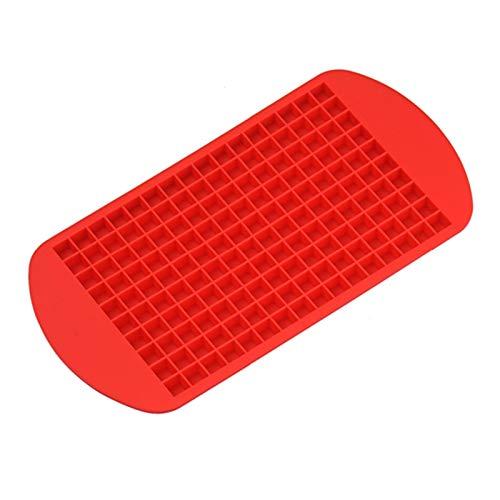AFTWLKJ 160 cuadrículas de Grado alimenticio Silicona Hielo Bandeja de Hielo Fruta Cubo Cubo Fabricante Bricolaje pequeña Forma Cuadrada Cocina Bebidas Accesorios de Hielo cuboso Molde (Color : Red)