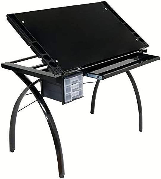 工艺站在这个通用的工作站得到舒适,坚固和光滑,这个工艺表提供了一个宽敞的工作表面,可以平放或倾斜到 25 用于绘图和素描的目的。