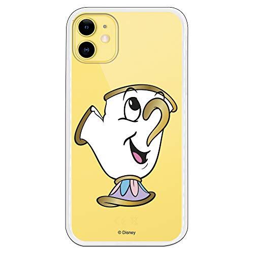Funda para iPhone 11 Oficial de La Bella y la Bestia Chip Potts Silueta Transparente para Proteger tu móvil. Carcasa para Apple de Silicona Flexible con Licencia Oficial de Disney.