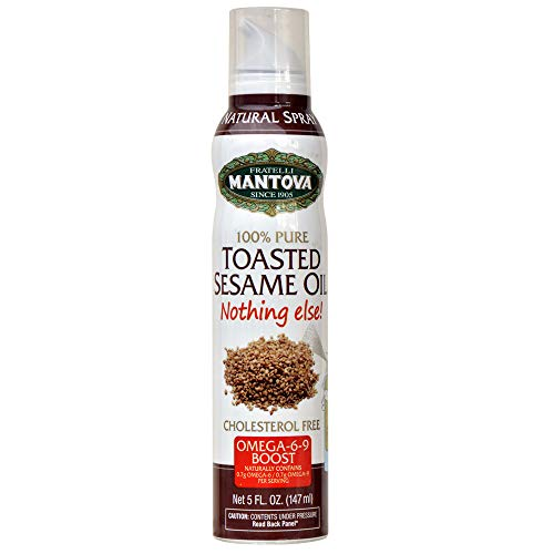 sesame oils Mantova 100% Pure Toasted Sesame Oil Cooking Spray with Omegas Perfect For Grilling Baking Or Seasoning For Cooking -Our Oil Dispenser Bottle Lets You Spray Drip Or Stream With No Waste, 5 Fl Oz