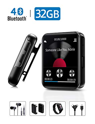 MP3 Player with Bluetooth,Portable Clip MP3 Player with FM Radio Wired Earbuds,Music Player with Touch Full Screen,Voice Recorder,Video Play,Wrist Belt, Mini MP3 Player Bluetooth for Running Workout 3