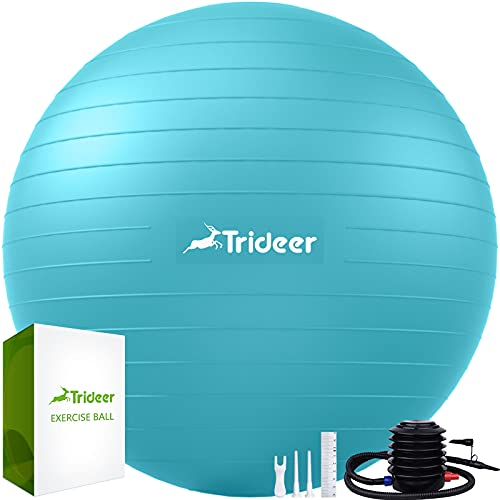Trideer Extra Thick Yoga Ball Exercise Ball, 5 Sizes Ball Chair, Heavy Duty Swiss Ball for Balance,...