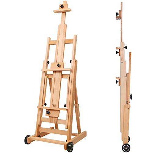 MEEDEN Versatile Studio H-Frame Easel - All Media Adjustable Beech Wood Studio Easel, Painting Floor Easel Stand, Movable and Tilting Flat Available, Holds Canvas Art up to 77""