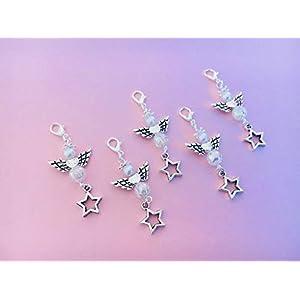 5 Perlenengel Anhänger mit wunderschöner irisierender Perle und Stern Charm, perfekt zum verschenken oder als Tisch Deko…