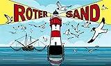 Fanshop Lünen Fahne - Flagge - Rotersand - (Roter Sand) - Leuchtturm - Meer - Küste - Sonne - Möwen - 90x150 cm - Hissfahne mit Ösen -