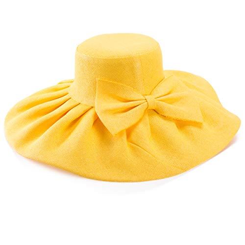 Linen Summer Womens Kentucky Derby Wide Brim Sun Hat Wedding Church Sea Beach A047 (Yellow)