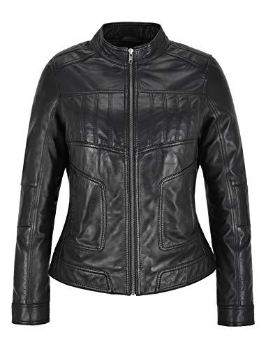 Damen Echtlederjacke Schwarz 100% Lammfell Lässige Mode Biker Style L-MVP (EU 40)