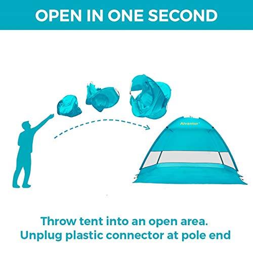 Alvantor Coolhut Beach Tent Beach Umbrella Outdoor Sun Shelter Cabana Automatic Pop Up UPF 50+ Sun shade Portable Camping Fishing Hiking Canopy Easy Setup Windproof (PATENT PENDING) 7014V 1-3 Person