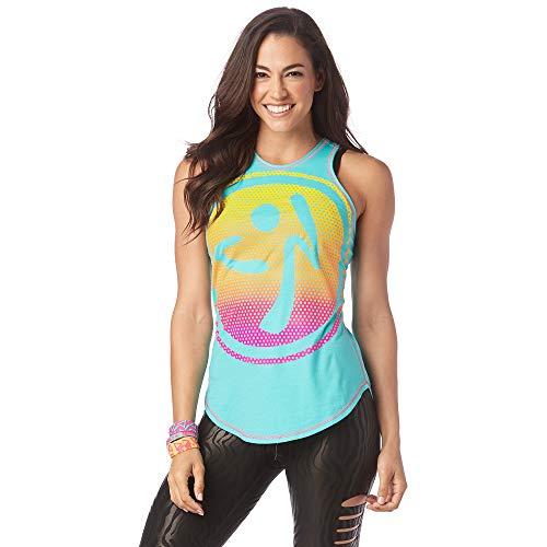 Zumba Activewear Fitness Training High Neck Tank Top Graphic Dance Sportbekleidung Damen, Teal Me Everything, XS