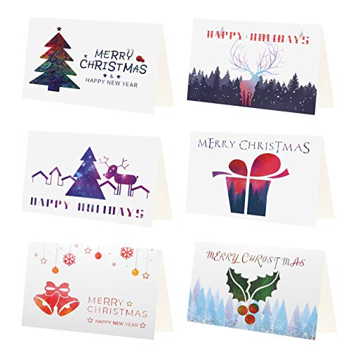 Kesote Set di 24 Biglietti d'Auguri di Natale Natalizi Biglietti di 6 Disegni Albero di Natale, Regalo Natalizio 24 Biglietti + 24 Adesivi di Natale + 24 Buste