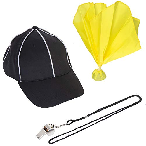 Football Referee Accessory Pack - Includes Hat, Whistle, and Penalty Flag - Great for Officiating Football Games or Halloween Costumes, Costume Party, Flag Football, Intramural Sports, Club Sport