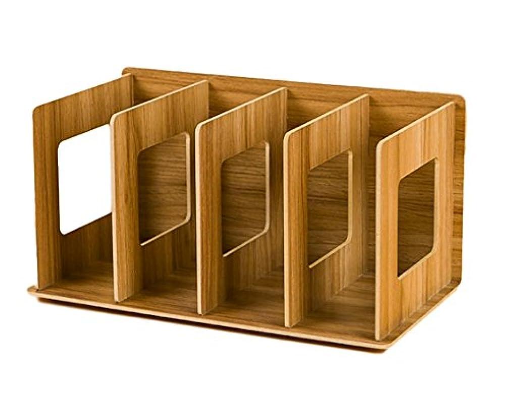 リビングルーム偶然ジレンマRajjo ブックスタンド 本立て 本収納 木製 DIY 組み立て 横置き 縦置き 卓上整理 仕切り 雑誌 CD オフィス (ブラウン)