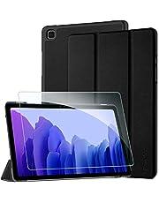 EasyAcc Funda y Protector de Pantalla Compatible con Samsung Galaxy Tab A7 10.4 2020, Case Ultra Slim Carcasa Smart Cover PU Alta Definicion Cristal Vidrio Premium para SM-T500/SM-T505, Negro
