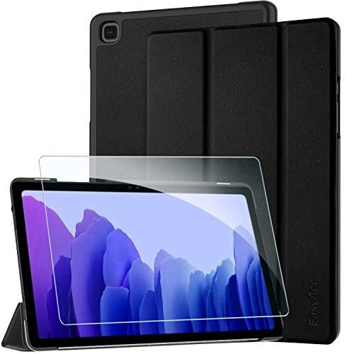 EasyAcc Custodia Cover + Pellicola Protettiva Compatibile con Samsung Galaxy Tab A7 10.4 2020, Ultra Sottile Smart Cover in Pelle Vetro Temperato Protezioni Pellicola per SM-T500/T505 Tablet, Nero