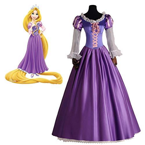 Disfraz de princesa Rapunzel para adultos, disfraz de Halloween para niñas y mujeres, vestido de fiesta de encaje morado, fiesta de Navidad