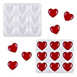 2 Pieces Heart Shape Resin Molds Keychain Charms Mold Silicone Heart Epoxy Mold Heart-Shaped Casting Jewelry Mold for Keychain Jewelry Pendant Craft Making