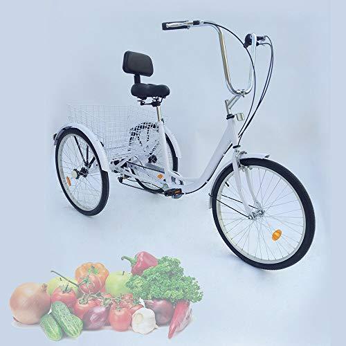 24 Zoll Erwachsene Dreirad 3-Rad 6 Gänge Fahrrad Bike mit Korb gebrauchte fahrradanhänger(schwarz) (Weiß)