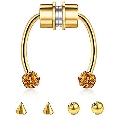 Nariz tabique anillo magnético falso herradura nariz aro no Piercing Clip en cartílago pendiente cuerpo joyería para mujeres niñas