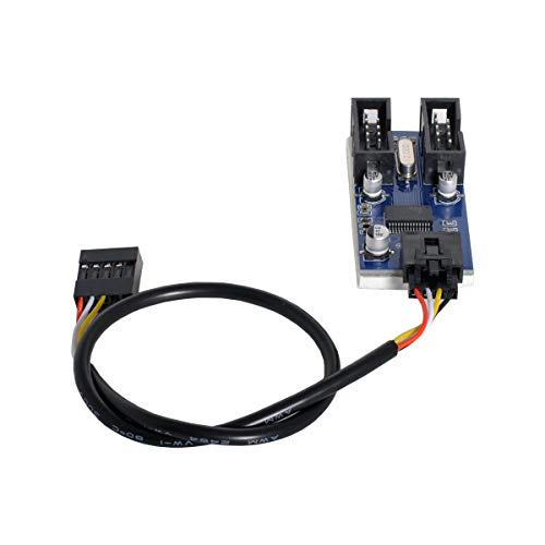 Scheda madre Cablecc 9pin USB 2.0 Header da 1 a 2 Prolunga femmina Connettore HUB Porta adattatore Multilier