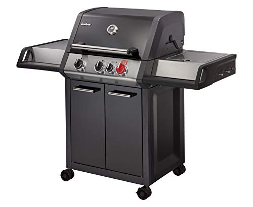 Enders® Gasgrill MONROE BLACK PRO 3 K TURBO, 3-Brenner mit Kocher, Guss-Rost, mit TURBO ZONE, HEAT RANGE Brenner-Technologien und SIMPLE CLEAN von Enders® #83716