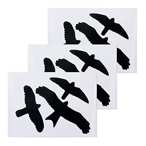 Relaxdays vogelsticker, waarschuwingsvogels voor ramen en glazen deuren, vogel- en raambescherming, 9 stickers in set, zwart, PVC,