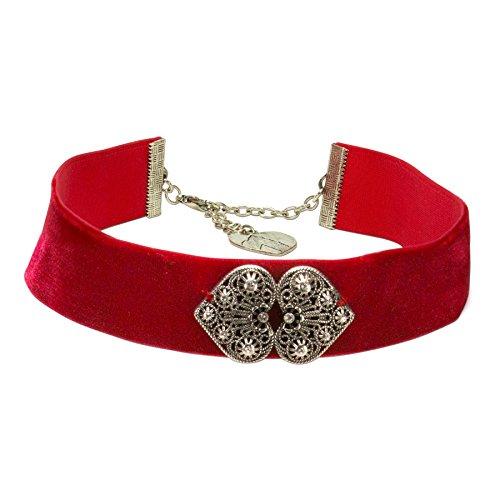 Alpenflüstern Trachten-Samt-Kropfband Ornament-Herzen - nostalgische Trachtenkette enganliegend, Kropfkette elastisch, Damen-Trachtenschmuck, Samtkropfband breit rot DHK206